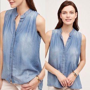 CLOTH AND STONE Chambray V-neck Sleeveless Top